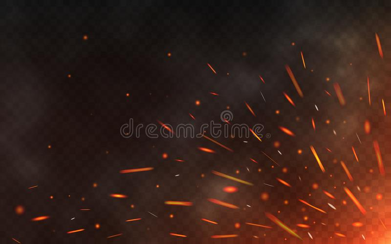 Fire sparks flying up on transparent background. Smoke and glowing particles on black. Realistic lighting sparks with royalty free illustration