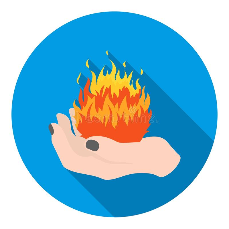 Fire spell icon in flat style isolated on white background. Black and white magic symbol stock vector illustration. royalty free illustration