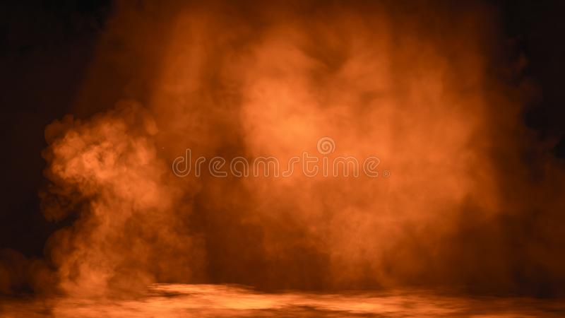 Fire Spotlight with smoke mist effect on isolated black background. Design element. Fire Spotlight with smoke mist effect on isolated black background stock photography