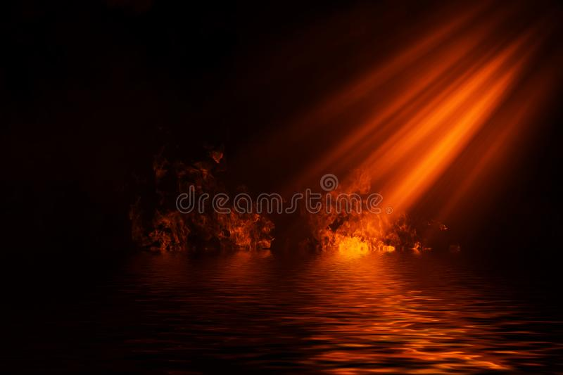 Fire spotlight smoke with reflection in water. Mistery fog texture background. Fire spotlight smoke with reflection in water. Mistery fog texture overlays vector illustration