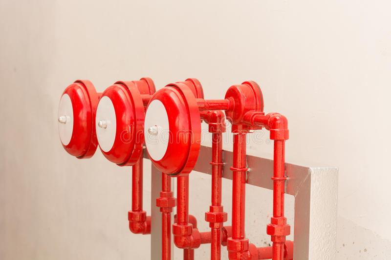 Fire sprinkler alarm for industries, fire protection system, Fir. Er proof system stock photos