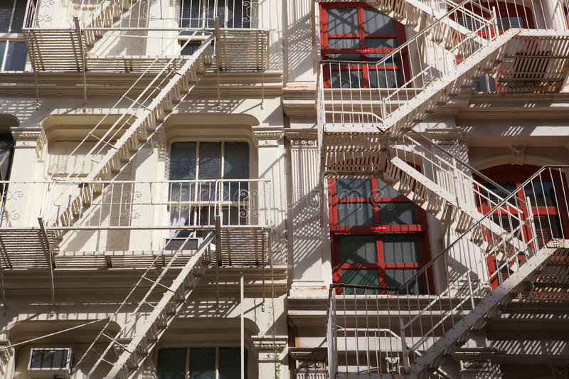 The fire stairs on old house, New York stock photos