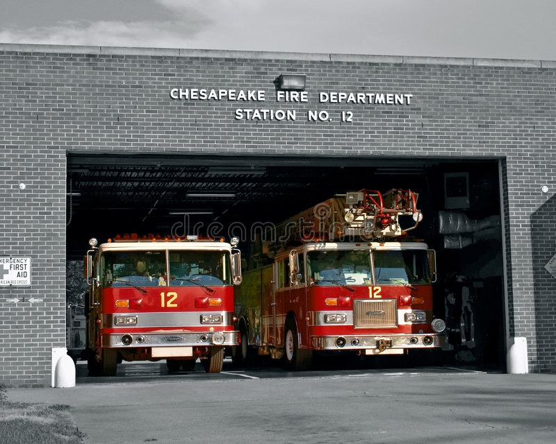 Fire station. Fire trucks at station royalty free stock photography