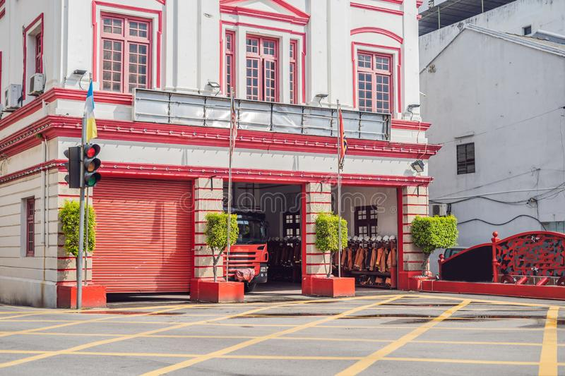 Fire station and fire truck in Malaysia, Penang Island royalty free stock image