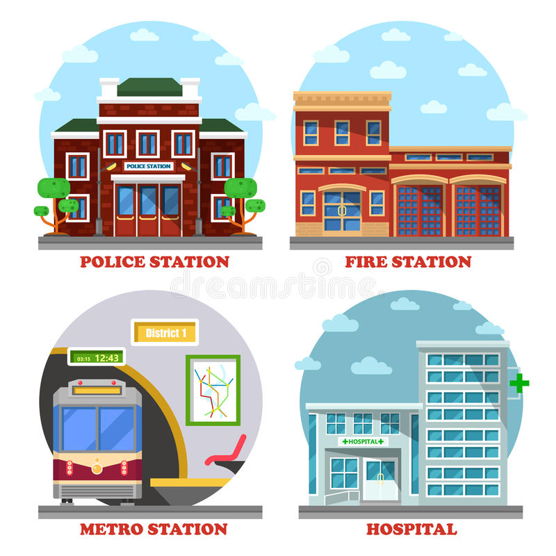 Fire station and hospital building, metro, police. Fire station and hospital building, metro and police station. Architecture of building facades for train vector illustration