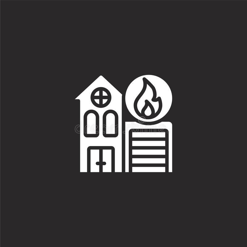 Fire station icon. Filled fire station icon for website design and mobile, app development. fire station icon from filled public. Services collection isolated royalty free illustration