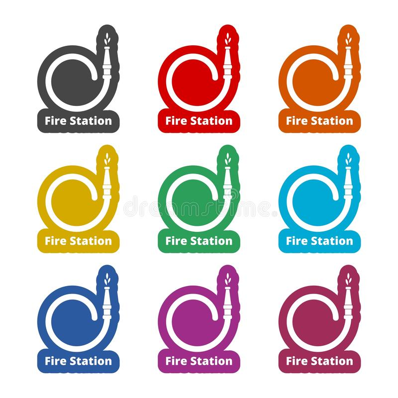 Fire station icon, Fire Service sign, color icons set royalty free illustration