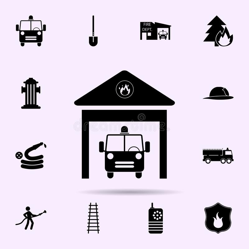 Fire station icon. Fireman icons universal set for web and mobile. On color background stock illustration