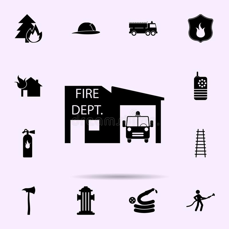 Fire station icon. Fireman icons universal set for web and mobile. On color background royalty free illustration