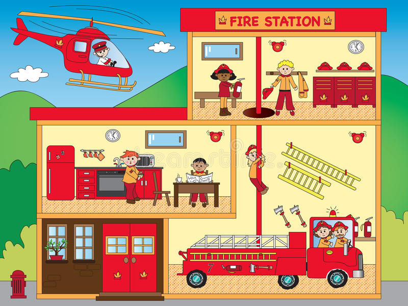 Fire station stock illustration