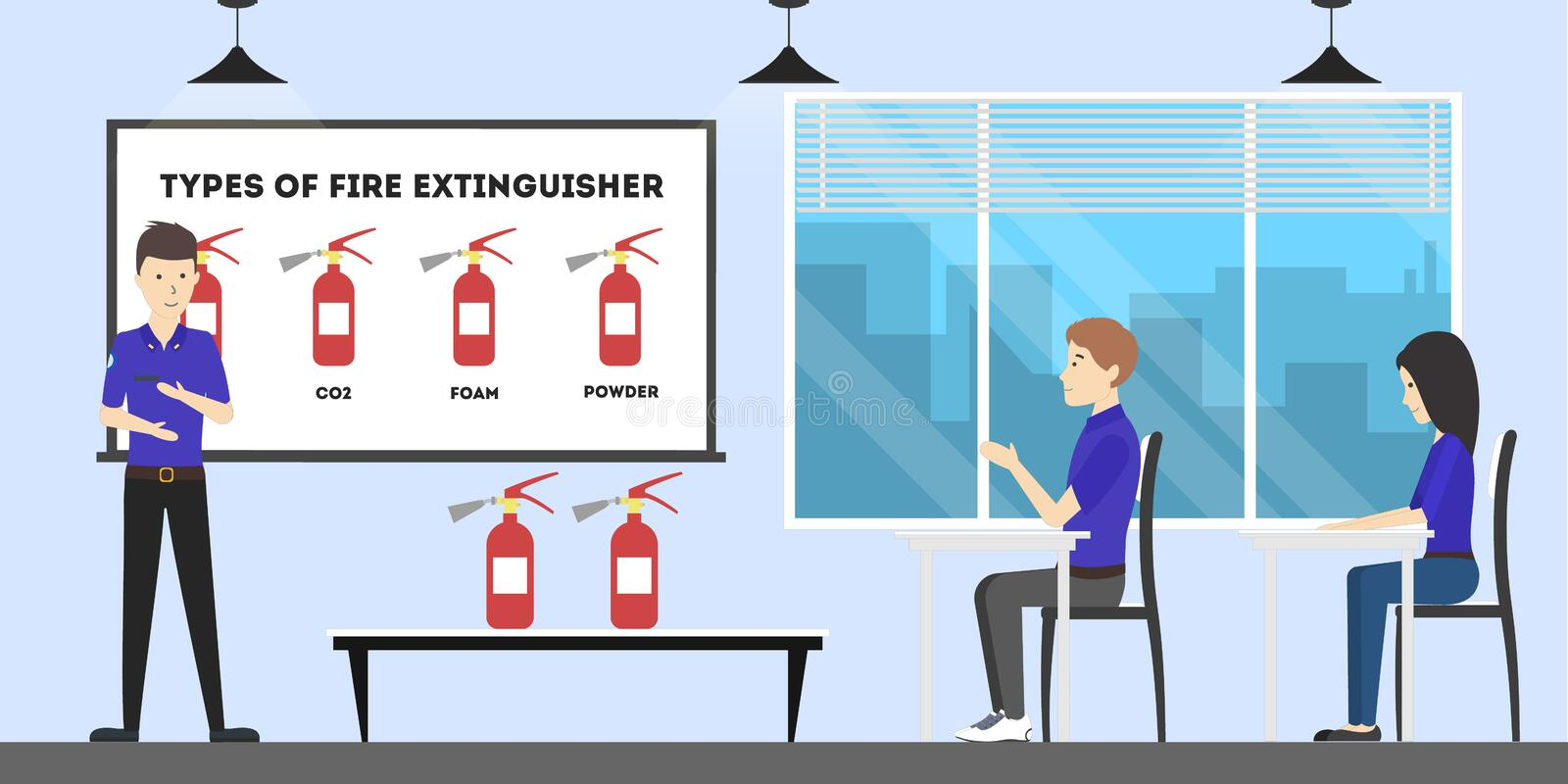 Fire station interior set. People in the office. Study for firefighter royalty free illustration