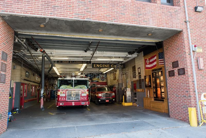 Fire Station in Manhattan, NYC. NYC, August 27, 2016: Fire station in Manhattan, New York City. The New York Fire Department is the second largest fire royalty free stock photography