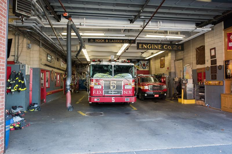 Fire Station in Manhattan, NYC. NYC, August 27, 2016: Fire station in Manhattan, New York City. The New York Fire Department is the second largest fire stock photos