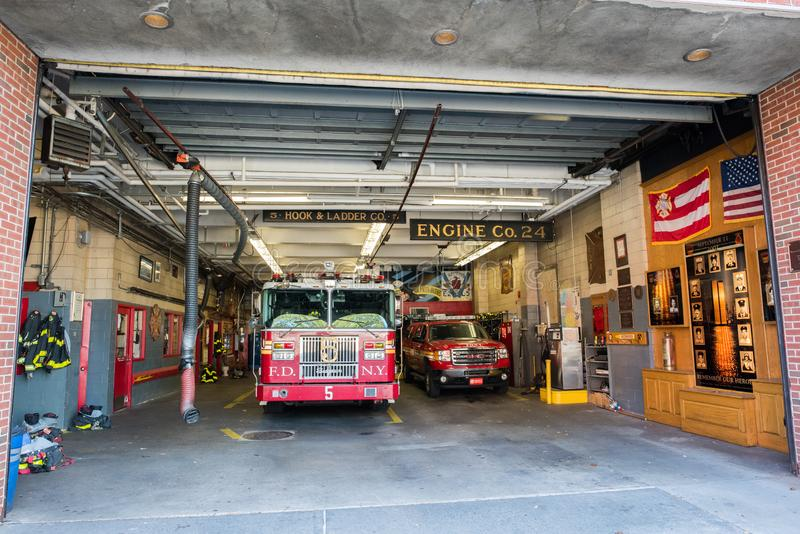 Fire Station in Manhattan, NYC. NYC, August 27, 2016: Fire station in Manhattan, New York City. The New York Fire Department is the second largest fire stock photo