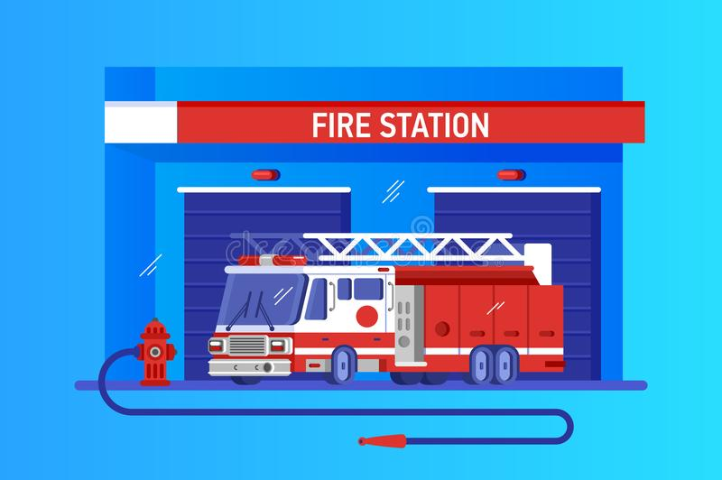 Fire station with truck. Rapid response service. Fire station with fire engine. Rapid response service, vector illustration flat royalty free illustration