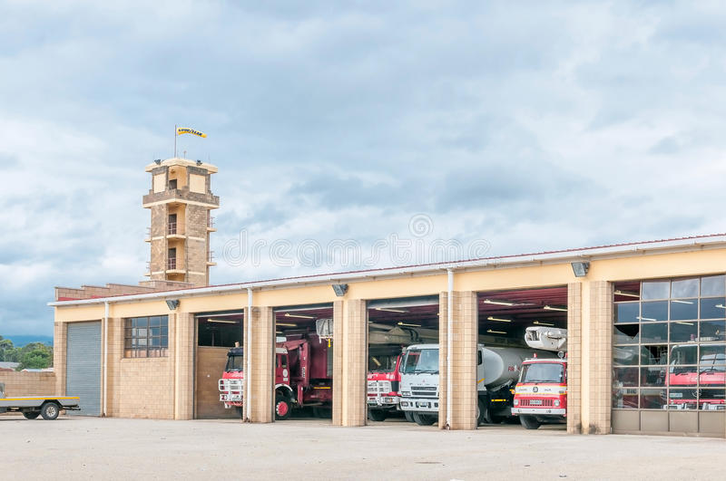 Fire station in Uitenhage. UITENHAGE, SOUTH AFRICA - MARCH 7, 2016: A fire station in Uitenhage, an industrial town in the Nelson Mandela Bay Metropolitan royalty free stock images