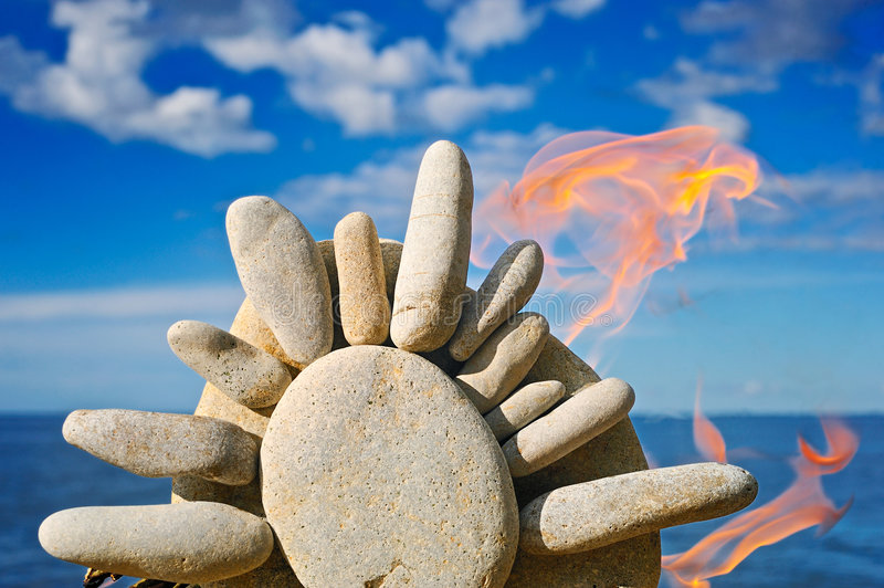 Download Fire and the stone sun stock photo. Image of boulder, environment - 7788466