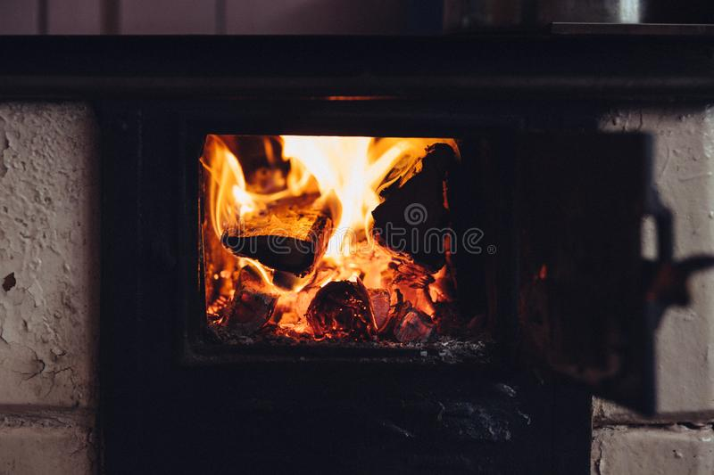 Fire in stove royalty free stock image