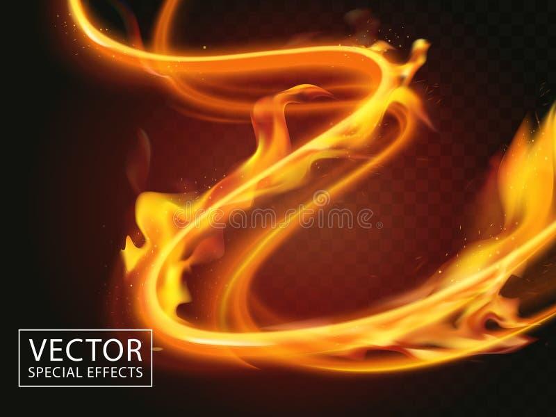 Fire streaks effect stock illustration