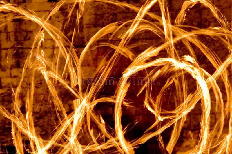 Fire streaks at night royalty free stock photos