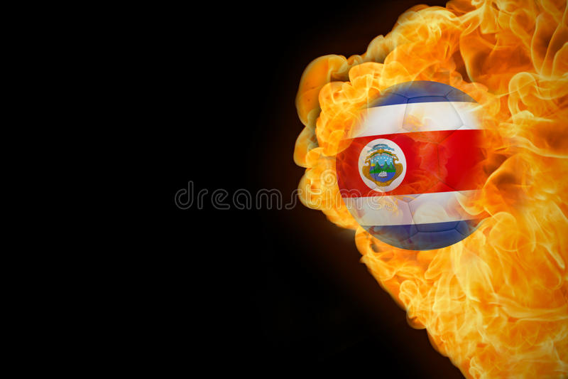 Fire surrounding costa rica flag football stock illustration
