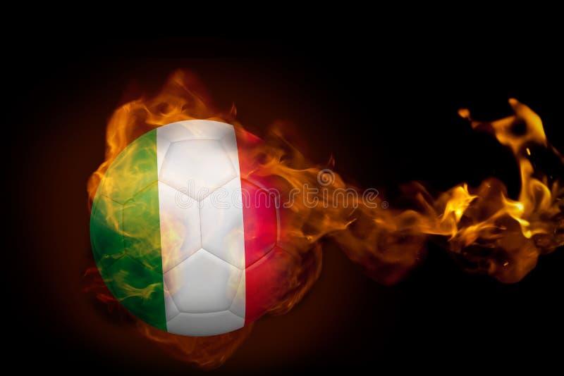 Fire surrounding italy ball vector illustration