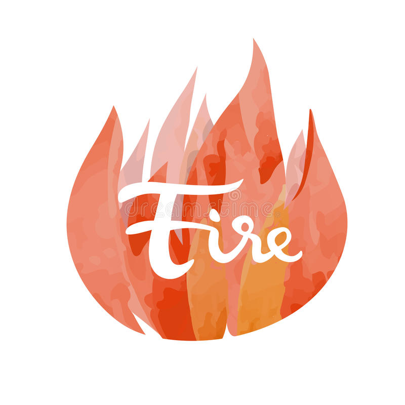 Fire symbol of The Four Elements. With lettering isolated on white vector illustration stock illustration