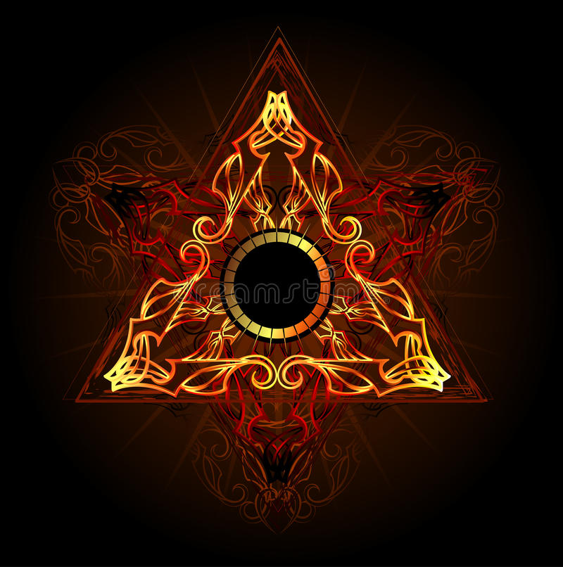 Fire symbol. Fire triangle esoteric symbol on a black background vector illustration