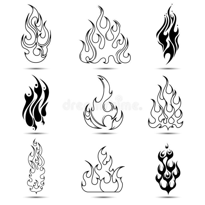 Fire tattoo icon set stock vector illustration of for Black and white flame tattoo