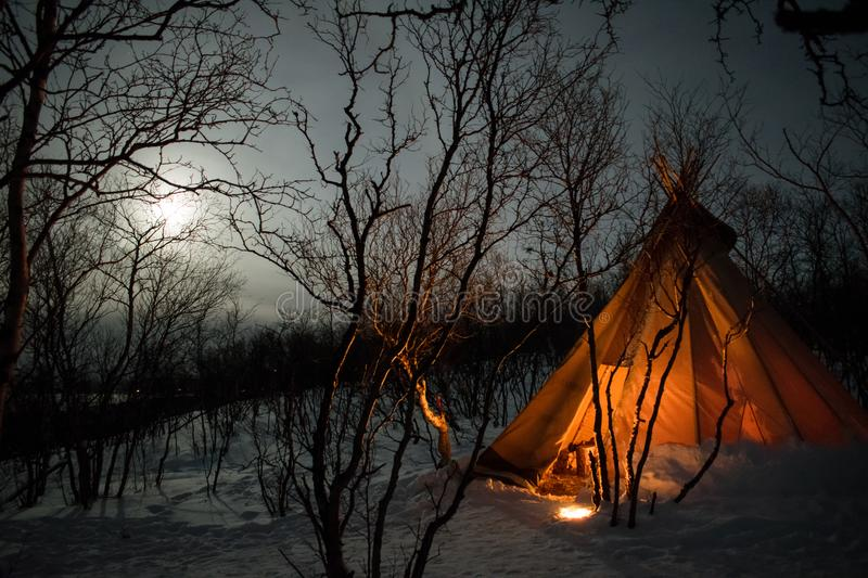 Fire by the Teepee royalty free stock photography