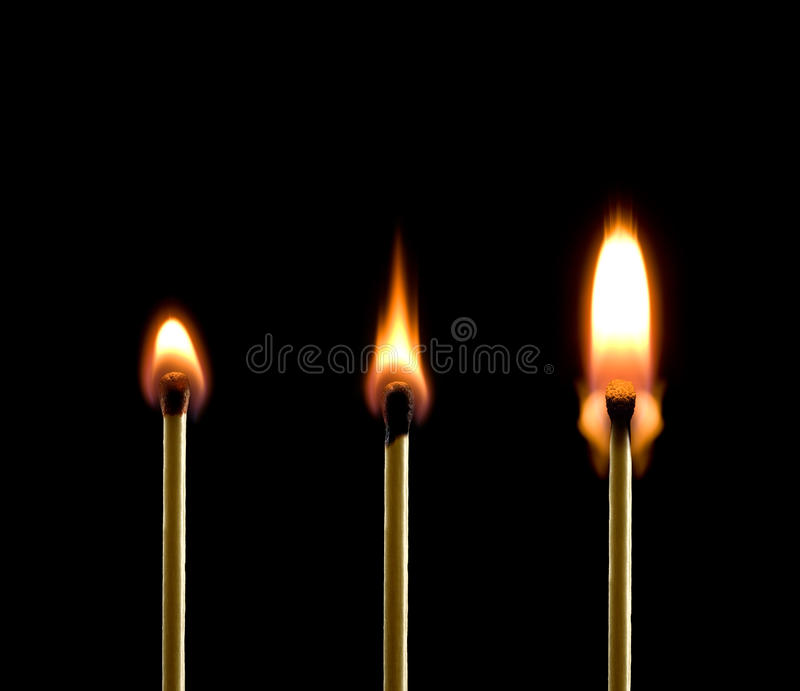 Fire (three matches). royalty free stock photos