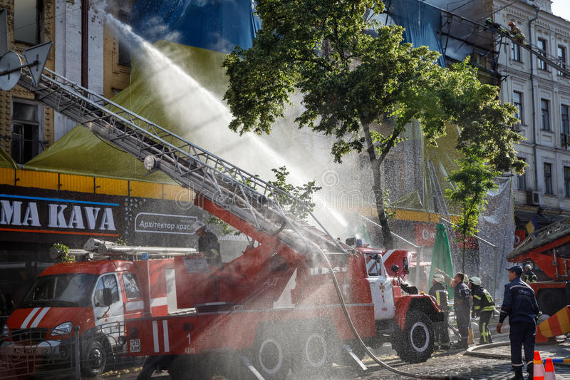 Fire in a three-story house in Kiev royalty free stock photos