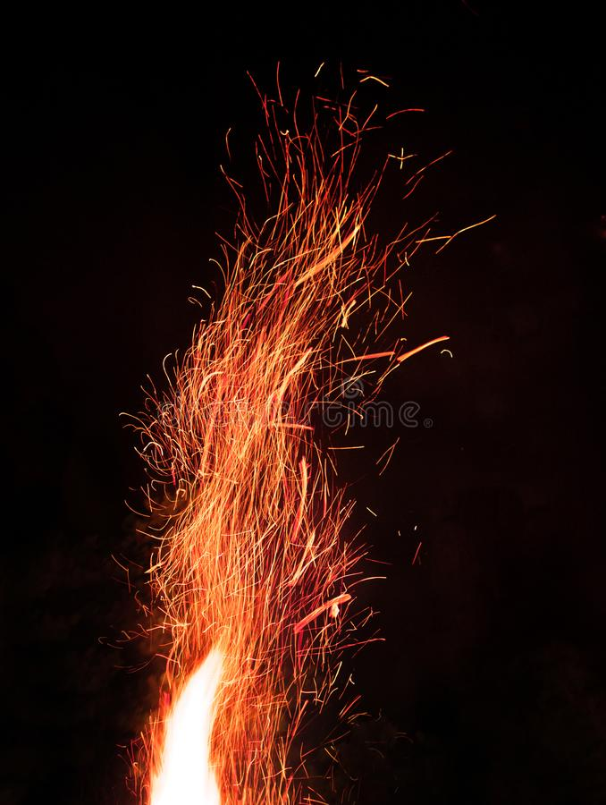 Fire. Top of the fire at the night with sparkles royalty free stock images