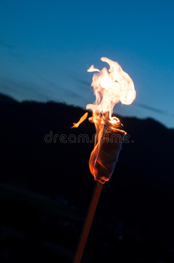 Fire torch in outdoor. Closeup of fire torch in outdoor royalty free stock photography