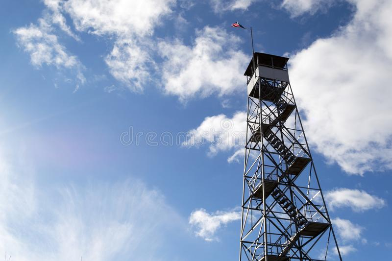 Fire tower at Mount Beacon. This fire tower in mount Beacon was restored and opened to the public in 2013 royalty free stock photography