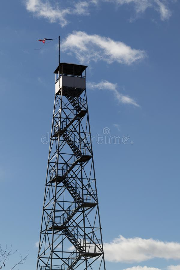 Fire tower at Mount Beacon. This fire tower in mount Beacon was restored and opened to the public in 2013 stock photo