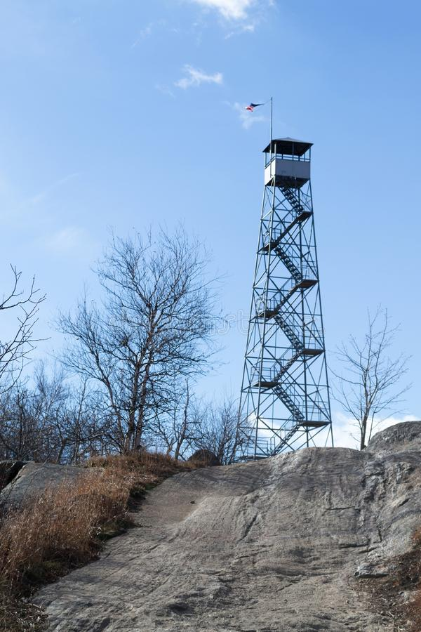 Fire tower at Mount Beacon. This fire tower in mount Beacon was restored and opened to the public in 2013 royalty free stock photo