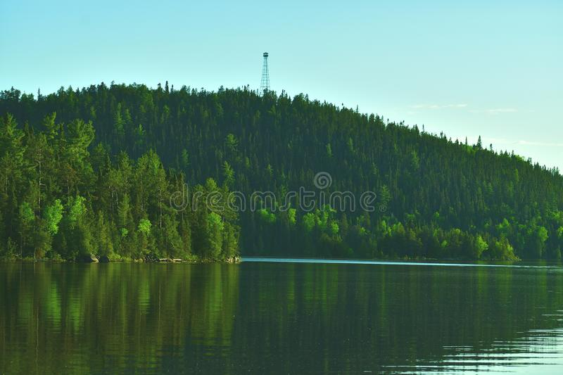 Fire tower overlooking lake northern ontario royalty free stock photos