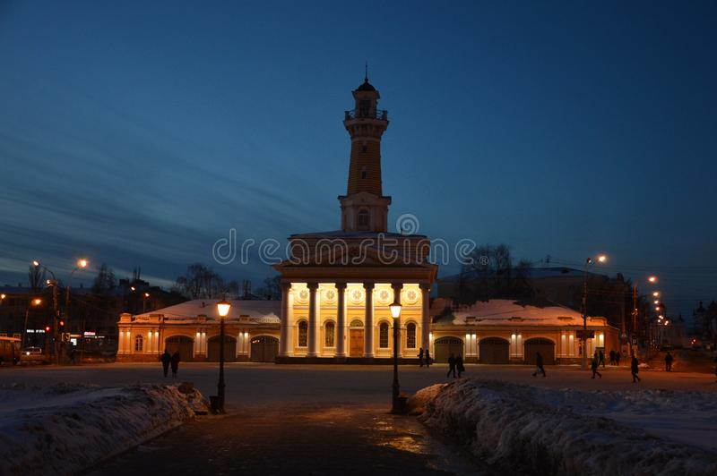 Fire Tower at twilight, Kostroma, Kostroma region, Russian Federation. View of the Fire Tower and fire station with a museum in Kostroma in Golden Ring at dusk stock images