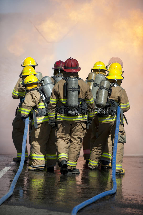 Fire training exercise stock image