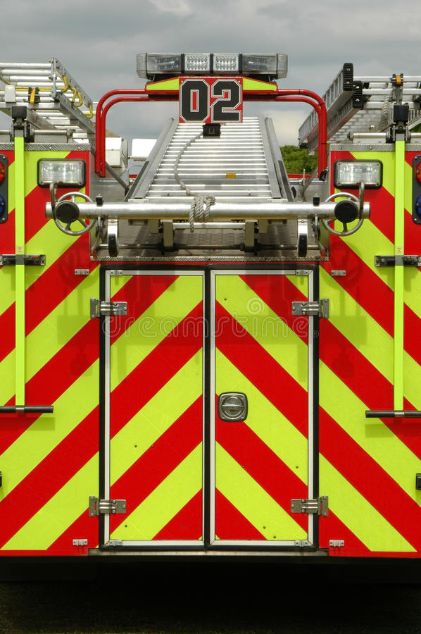 Fire truck. Emergency fire truck loaded with rescue ladders royalty free stock image
