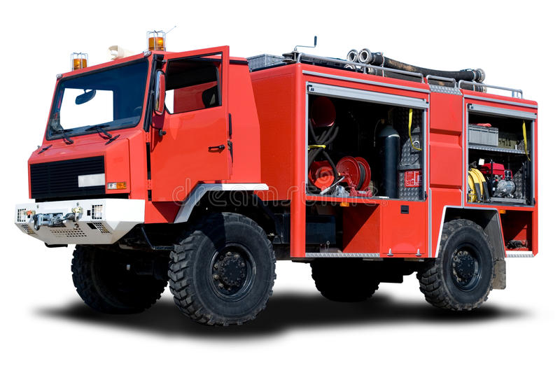 Fire Truck. Big Red Fire Truck Isolated on White royalty free stock photos