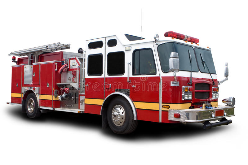 Fire Truck. Big Red Fire Truck Isolated on White royalty free stock photo