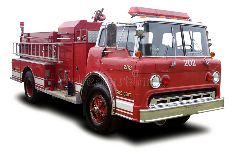 Fire Truck. Big Red Fire Truck Isolated on White stock images