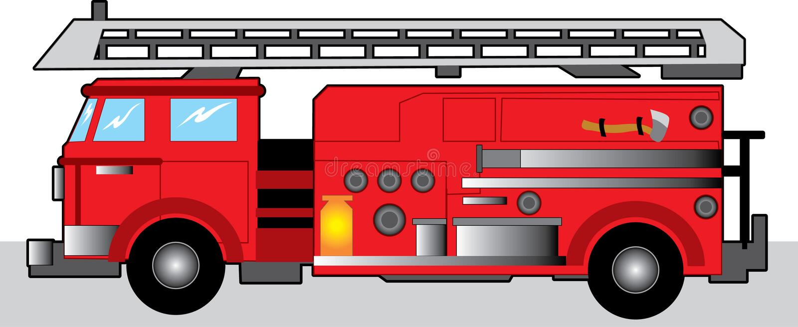 Fire Truck. Red Fire Engine with hook and ladders stock illustration