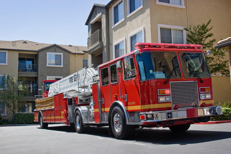 Fire Truck. Department fire truck shows up on scene stock photos