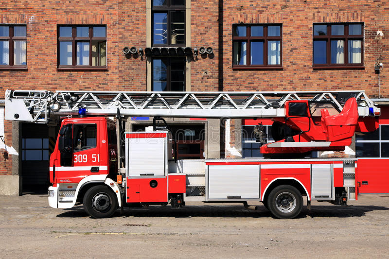 Fire truck. Parked at the fire station royalty free stock image