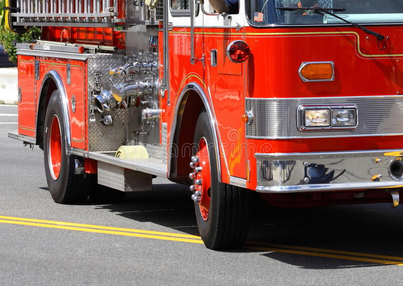 Fire Truck. Front left close-up of a red fire truck stock image
