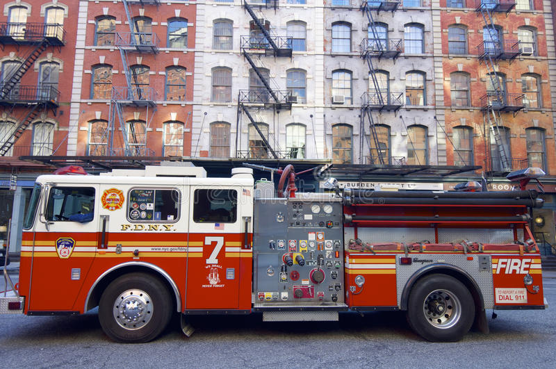 Fire truck. New York, USA - December 31, 2007: A fire truck from the New York Fire Department is parked on a street in Manhattan royalty free stock image