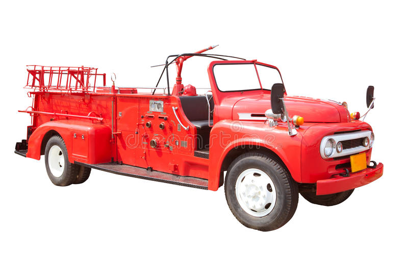Fire truck. Old vintage fire truck isolated on white background stock images